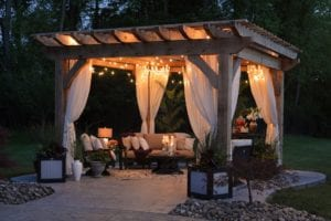 outdoor patio with lights and gazebo