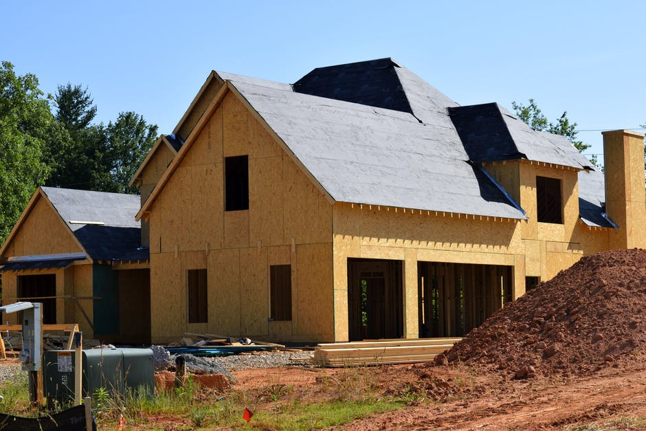 house under construction, no siding or roof installed